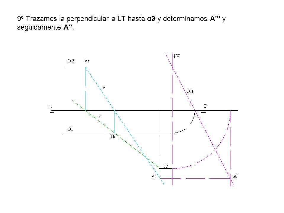 9º Trazamos la perpendicular a LT hasta α3 y determinamos A y seguidamente A .