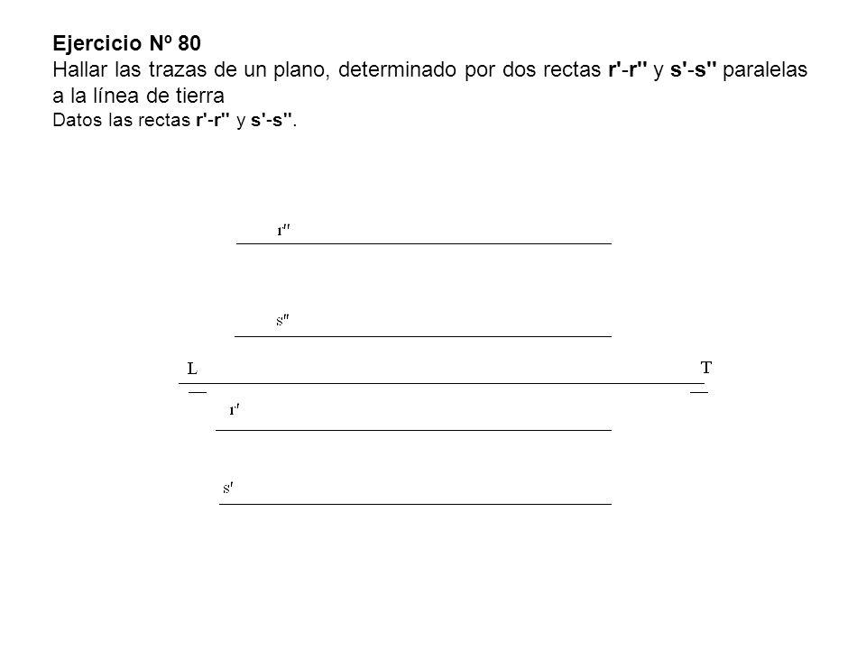 Ejercicio Nº 80 Hallar las trazas de un plano, determinado por dos rectas r -r y s -s paralelas a la línea de tierra Datos las rectas r -r y s -s .