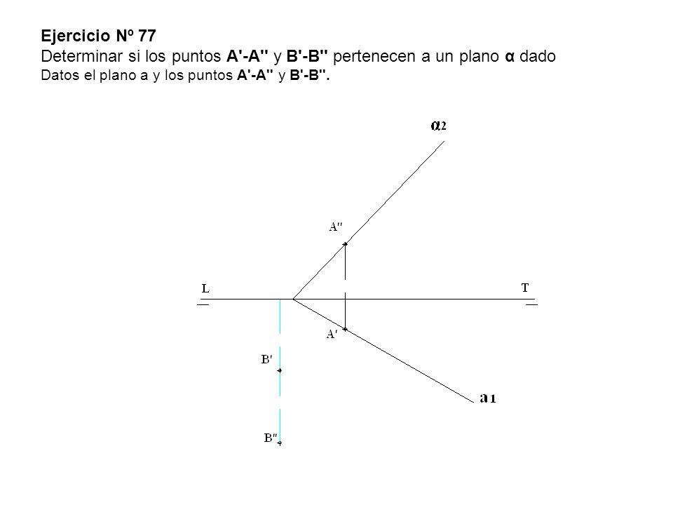 Ejercicio Nº 77 Determinar si los puntos A -A y B -B pertenecen a un plano α dado Datos el plano a y los puntos A -A y B -B .