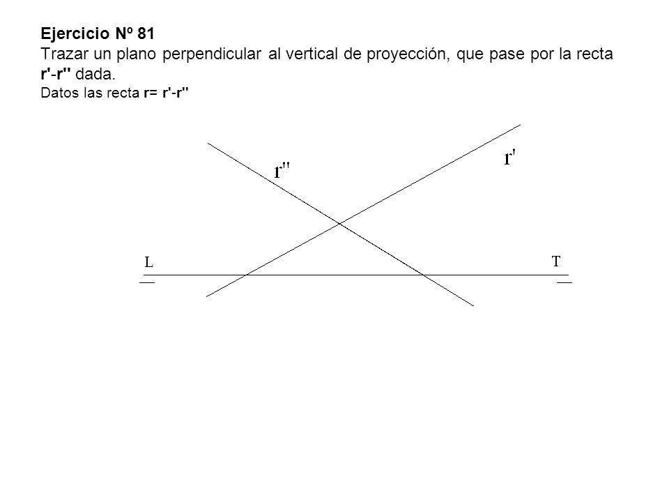 Ejercicio Nº 81 Trazar un plano perpendicular al vertical de proyección, que pase por la recta r -r dada.