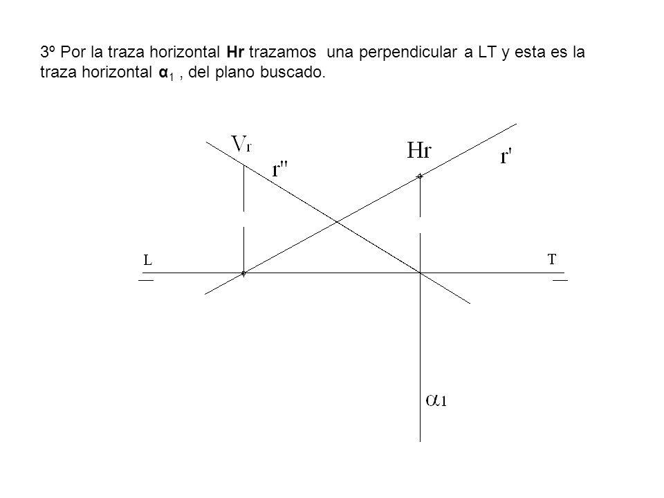 3º Por la traza horizontal Hr trazamos una perpendicular a LT y esta es la traza horizontal α1 , del plano buscado.