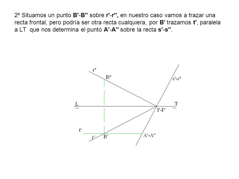 2º Situamos un punto B -B sobre r -r , en nuestro caso vamos a trazar una recta frontal, pero podría ser otra recta cualquiera, por B trazamos t , paralela a LT que nos determina el punto A -A sobre la recta s -s .