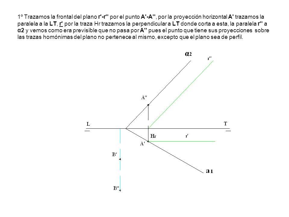1º Trazamos la frontal del plano r -r por el punto A -A , por la proyección horizontal A trazamos la paralela a la LT, r por la traza Hr trazamos la perpendicular a LT donde corta a esta, la paralela r a α2 y vemos como era previsible que no pasa por A pues el punto que tiene sus proyecciones sobre las trazas homónimas del plano no pertenece al mismo, excepto que el plano sea de perfil.