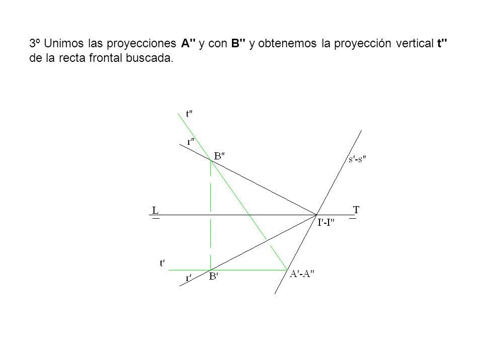 3º Unimos las proyecciones A y con B y obtenemos la proyección vertical t de la recta frontal buscada.