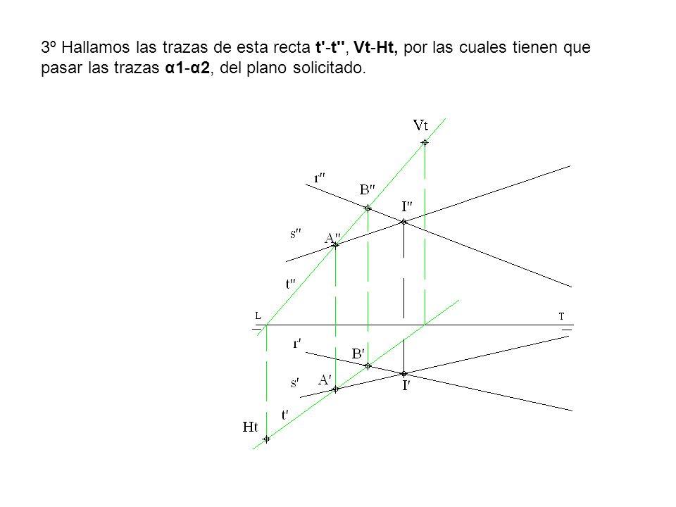 3º Hallamos las trazas de esta recta t -t , Vt-Ht, por las cuales tienen que pasar las trazas α1-α2, del plano solicitado.