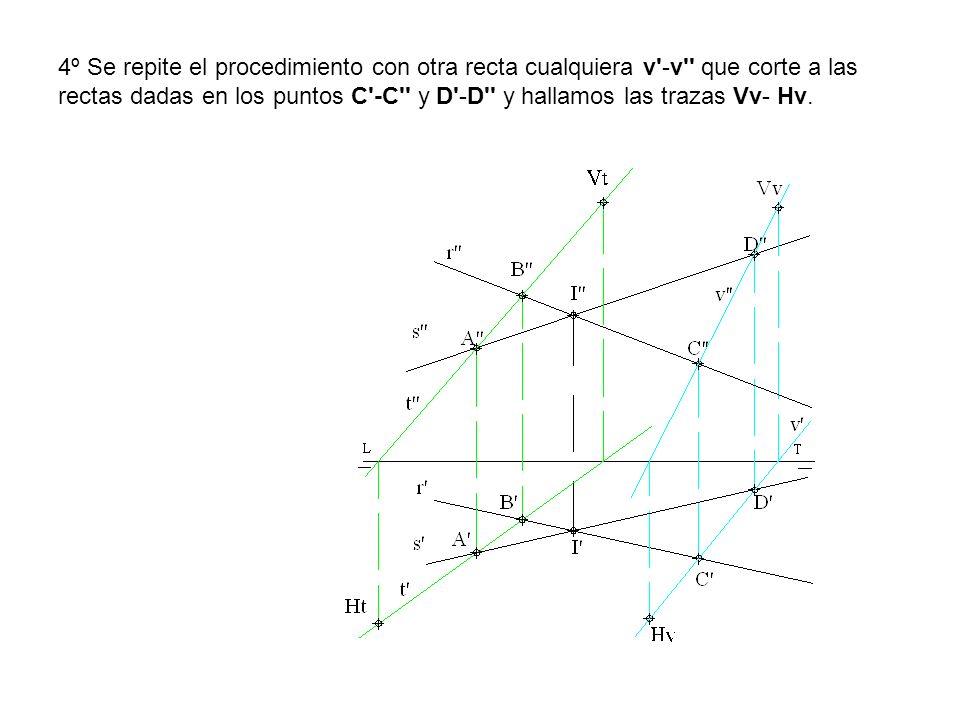 4º Se repite el procedimiento con otra recta cualquiera v -v que corte a las rectas dadas en los puntos C -C y D -D y hallamos las trazas Vv- Hv.
