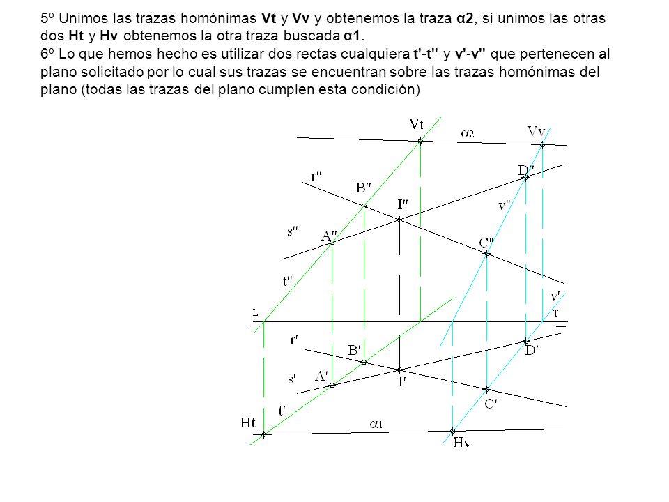 5º Unimos las trazas homónimas Vt y Vv y obtenemos la traza α2, si unimos las otras dos Ht y Hv obtenemos la otra traza buscada α1.