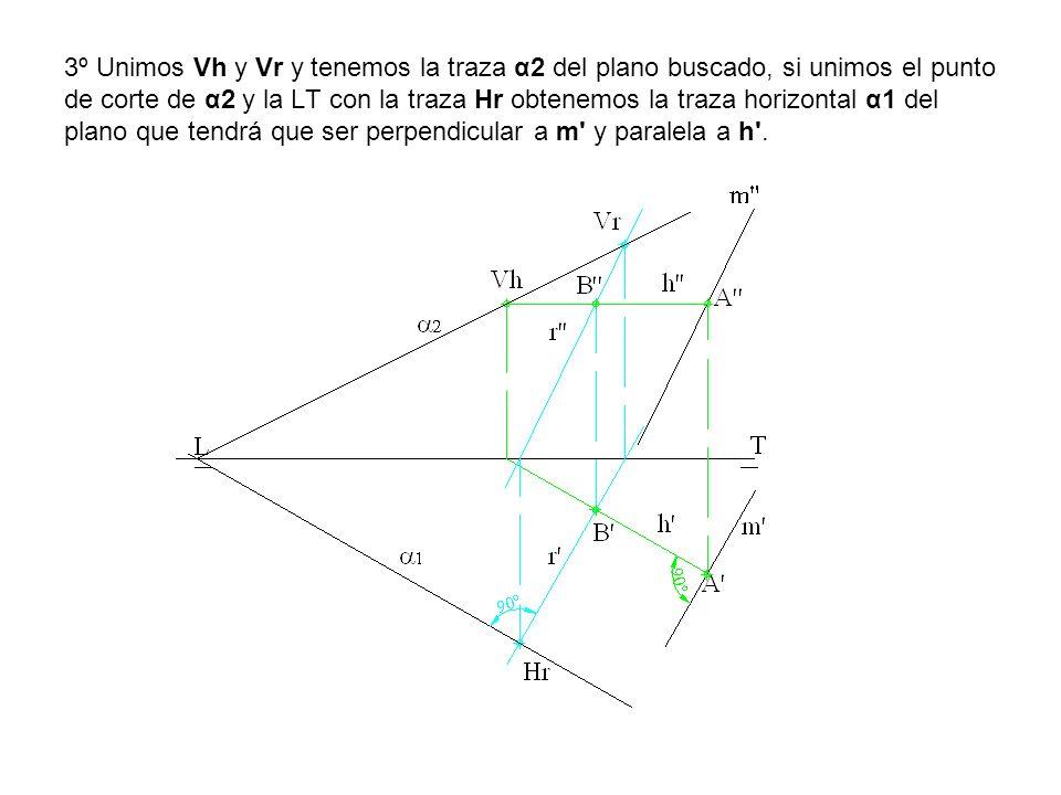 3º Unimos Vh y Vr y tenemos la traza α2 del plano buscado, si unimos el punto de corte de α2 y la LT con la traza Hr obtenemos la traza horizontal α1 del plano que tendrá que ser perpendicular a m y paralela a h .