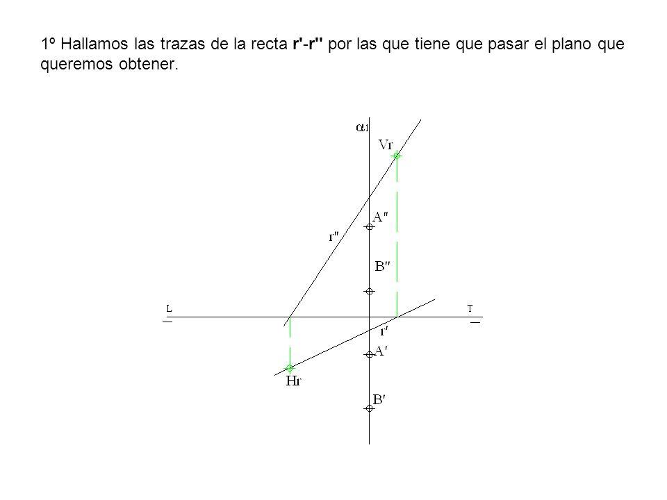 1º Hallamos las trazas de la recta r -r por las que tiene que pasar el plano que queremos obtener.