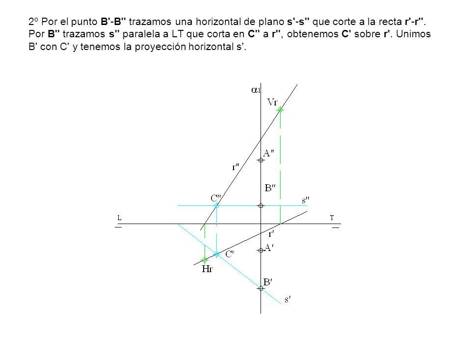 2º Por el punto B -B trazamos una horizontal de plano s -s que corte a la recta r -r .