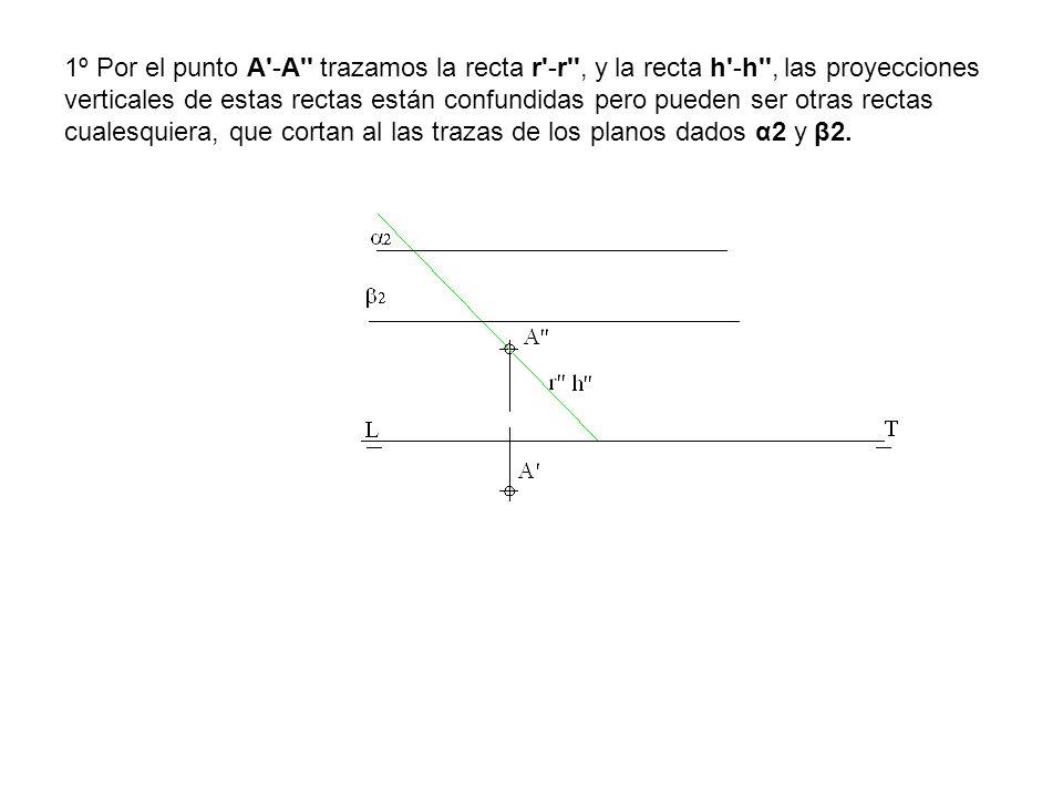 1º Por el punto A -A trazamos la recta r -r , y la recta h -h , las proyecciones verticales de estas rectas están confundidas pero pueden ser otras rectas cualesquiera, que cortan al las trazas de los planos dados α2 y β2.