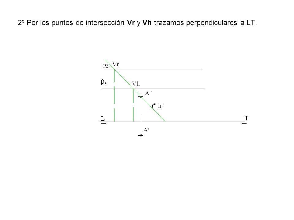 2º Por los puntos de intersección Vr y Vh trazamos perpendiculares a LT.