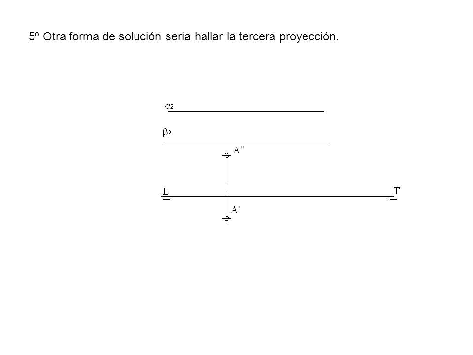 5º Otra forma de solución seria hallar la tercera proyección.
