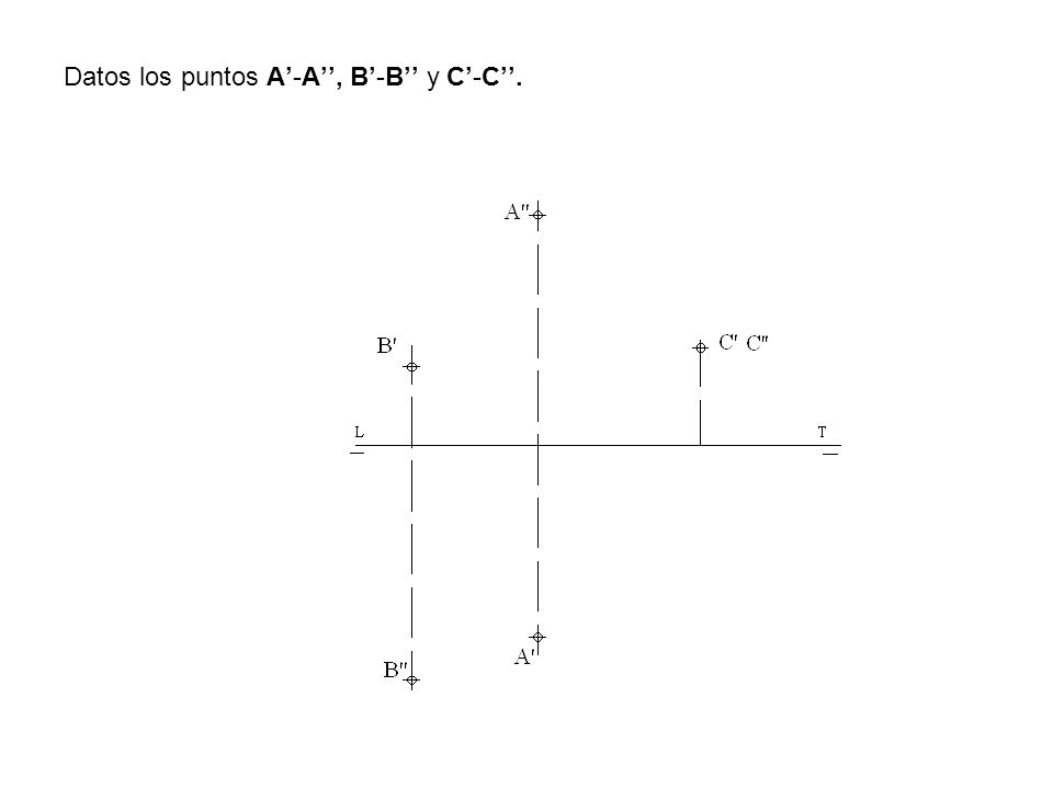 Datos los puntos A'-A'', B'-B'' y C'-C''.