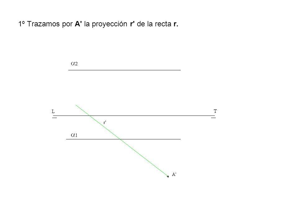 1º Trazamos por A la proyección r de la recta r.