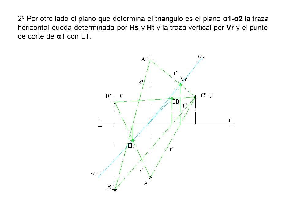 2º Por otro lado el plano que determina el triangulo es el plano α1-α2 la traza horizontal queda determinada por Hs y Ht y la traza vertical por Vr y el punto de corte de α1 con LT.