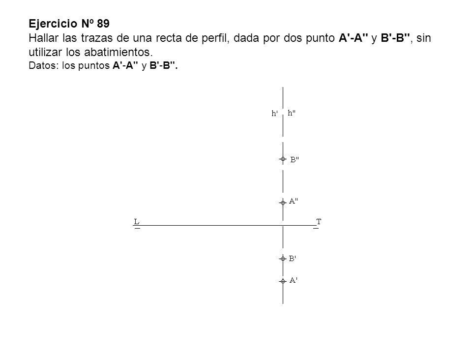 Ejercicio Nº 89 Hallar las trazas de una recta de perfil, dada por dos punto A -A y B -B , sin utilizar los abatimientos.