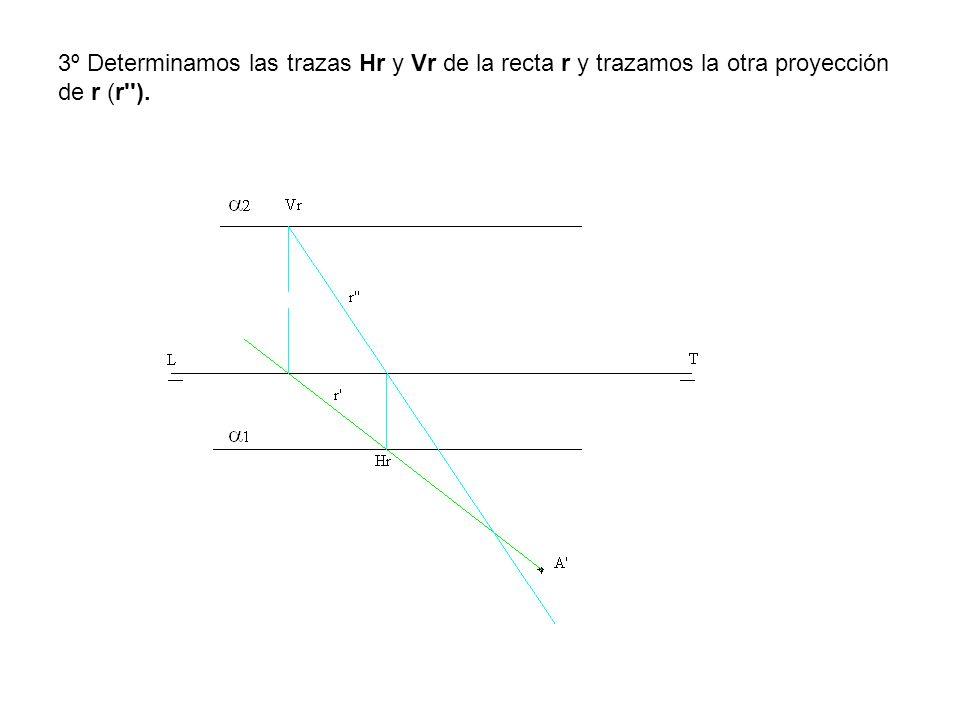 3º Determinamos las trazas Hr y Vr de la recta r y trazamos la otra proyección de r (r ).