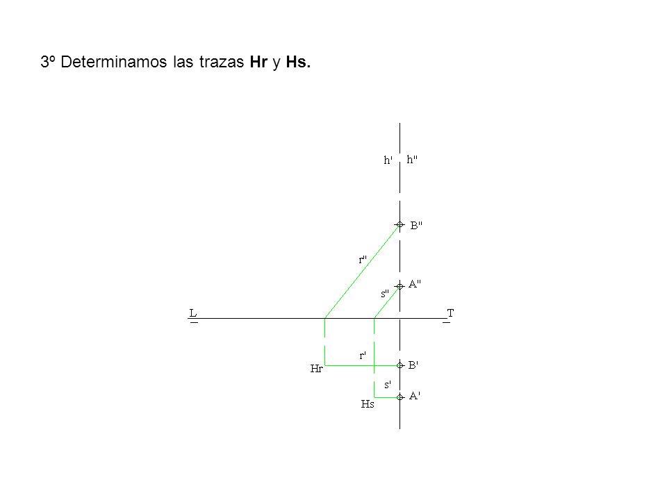 3º Determinamos las trazas Hr y Hs.