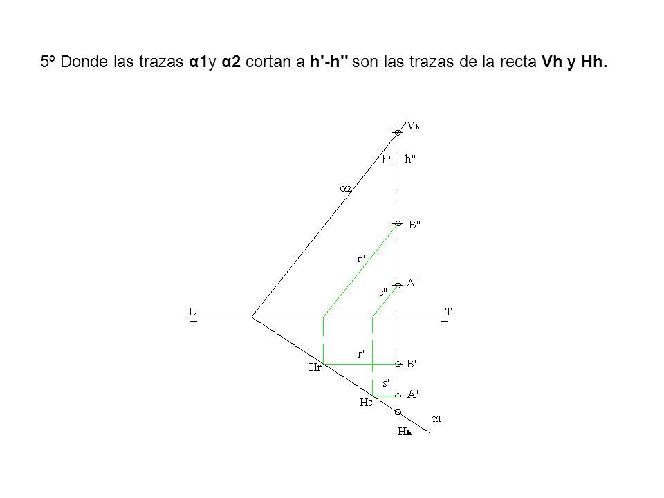 5º Donde las trazas α1y α2 cortan a h -h son las trazas de la recta Vh y Hh.