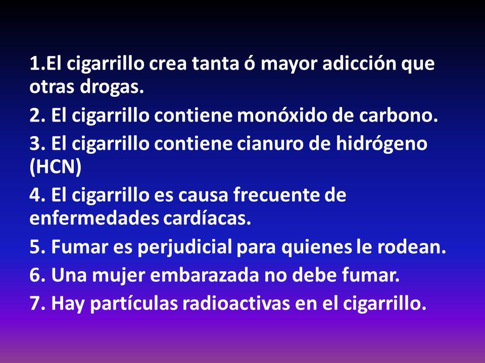 1. El cigarrillo crea tanta ó mayor adicción que otras drogas. 2