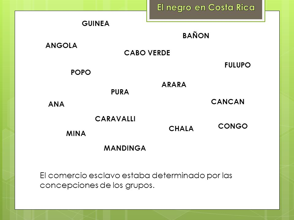El negro en Costa RicaGUINEA. BAÑON. ANGOLA. CABO VERDE. FULUPO. POPO. ARARA. PURA. CANCAN. ANA. CARAVALLI.