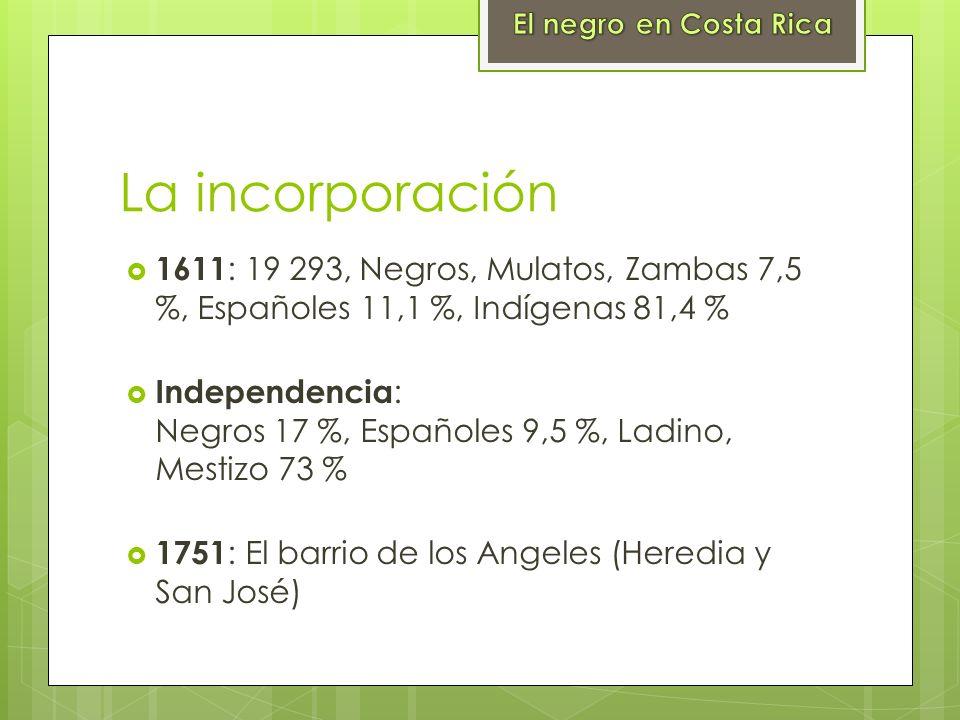 El negro en Costa RicaLa incorporación. 1611: 19 293, Negros, Mulatos, Zambas 7,5 %, Españoles 11,1 %, Indígenas 81,4 %