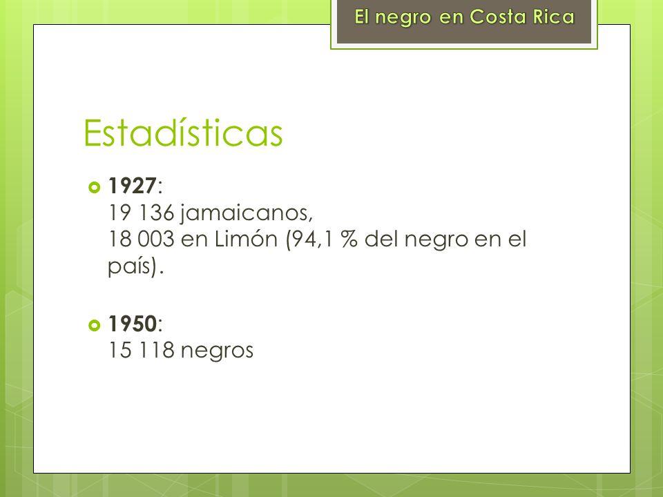 El negro en Costa RicaEstadísticas. 1927: 19 136 jamaicanos, 18 003 en Limón (94,1 % del negro en el país).