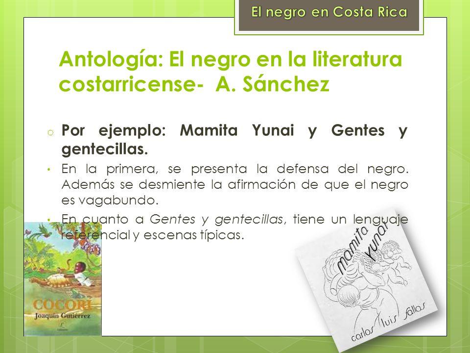 Antología: El negro en la literatura costarricense- A. Sánchez