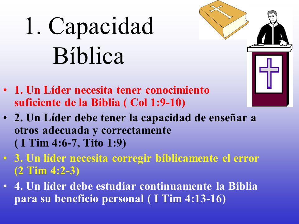 1. Capacidad Bíblica 1. Un Líder necesita tener conocimiento suficiente de la Biblia ( Col 1:9-10)