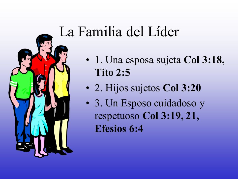 La Familia del Líder 1. Una esposa sujeta Col 3:18, Tito 2:5