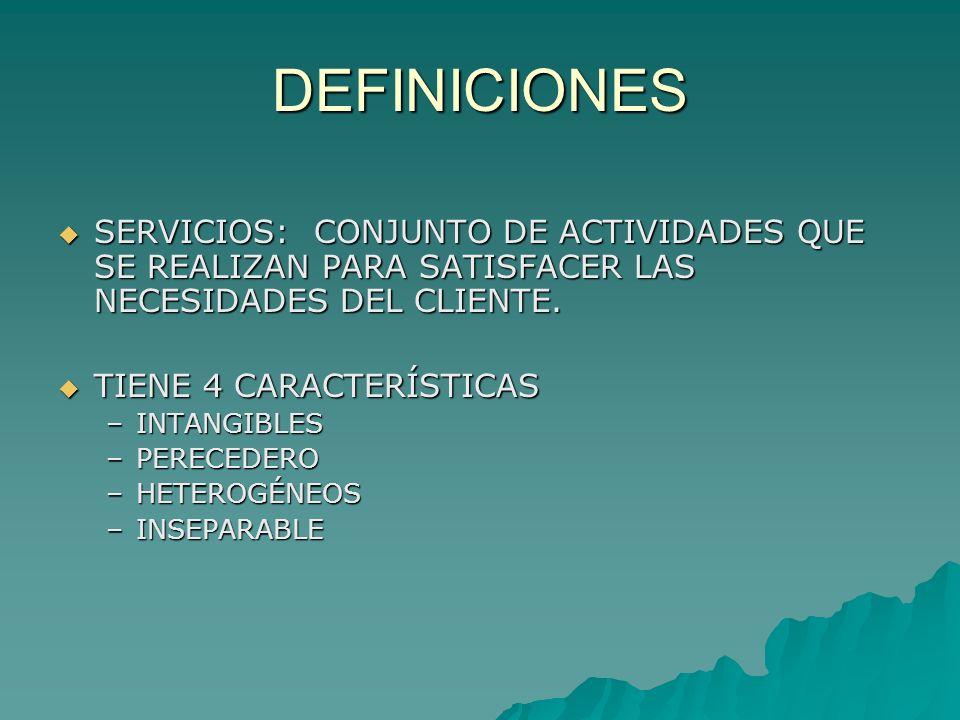 DEFINICIONES SERVICIOS: CONJUNTO DE ACTIVIDADES QUE SE REALIZAN PARA SATISFACER LAS NECESIDADES DEL CLIENTE.