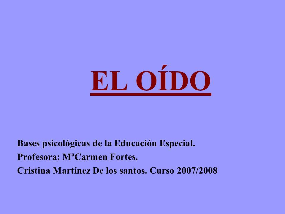 EL OÍDO Bases psicológicas de la Educación Especial.