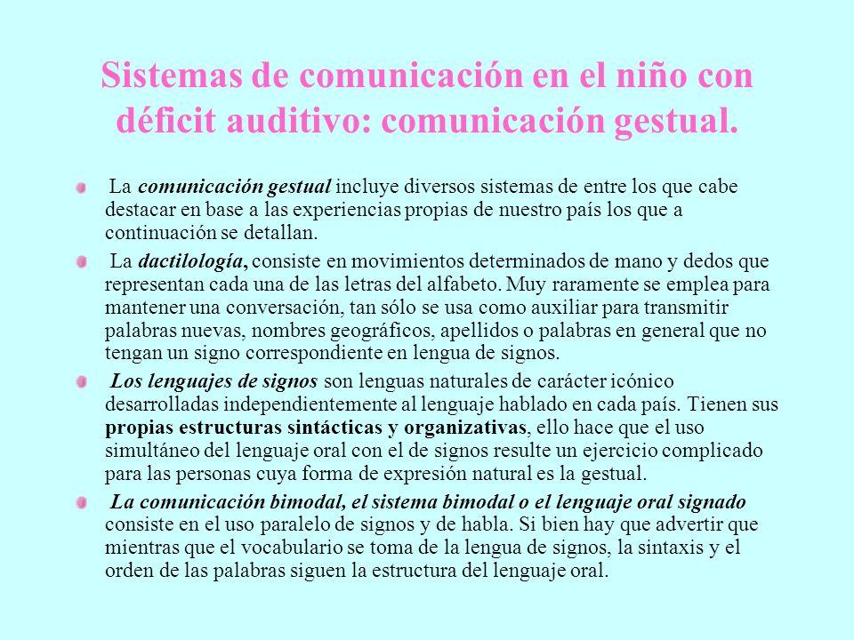 Sistemas de comunicación en el niño con déficit auditivo: comunicación gestual.