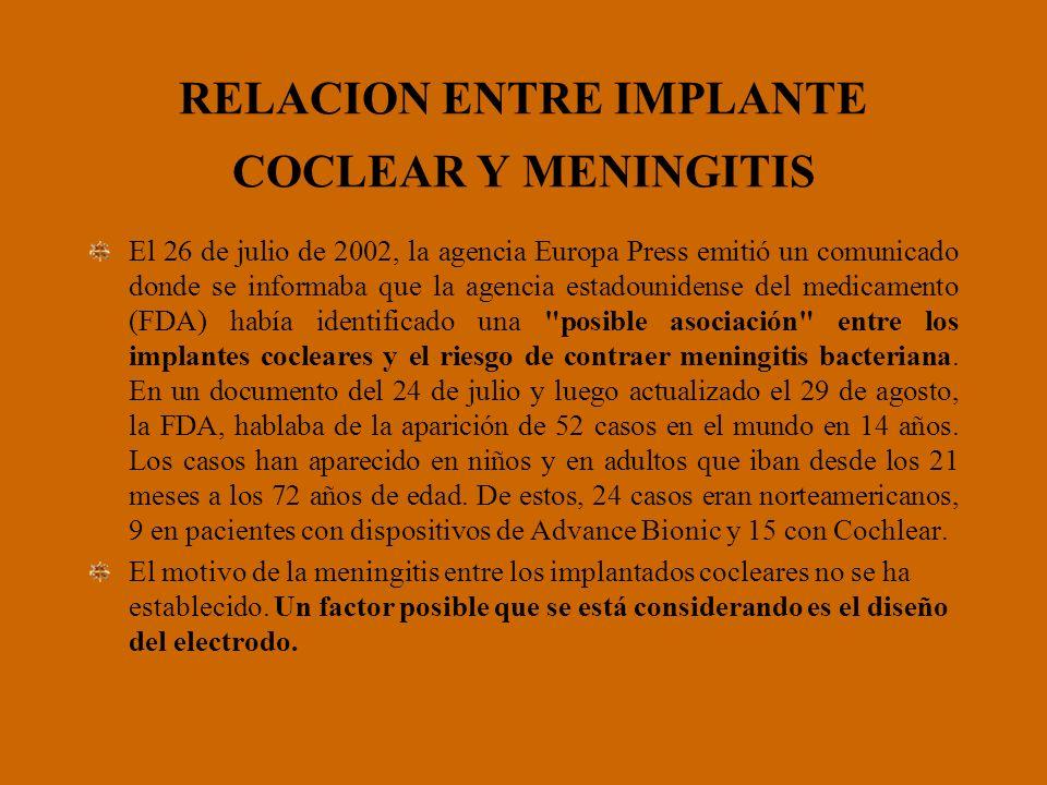 RELACION ENTRE IMPLANTE COCLEAR Y MENINGITIS