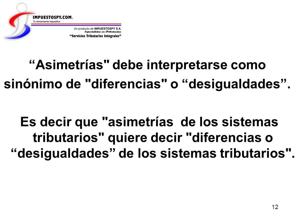 Asimetrías debe interpretarse como