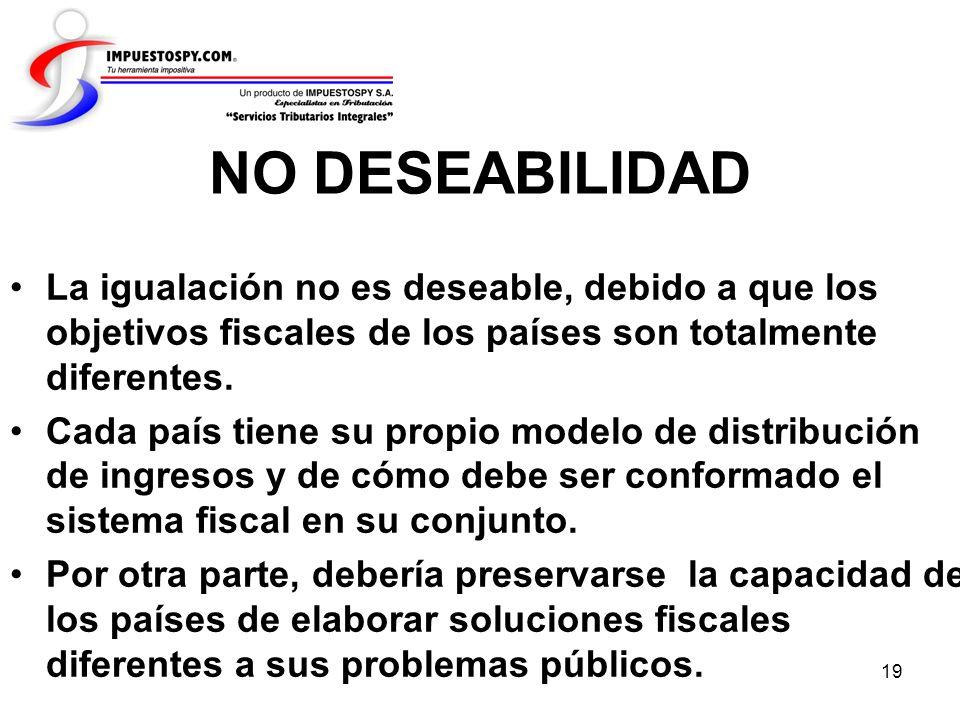 NO DESEABILIDAD La igualación no es deseable, debido a que los objetivos fiscales de los países son totalmente diferentes.