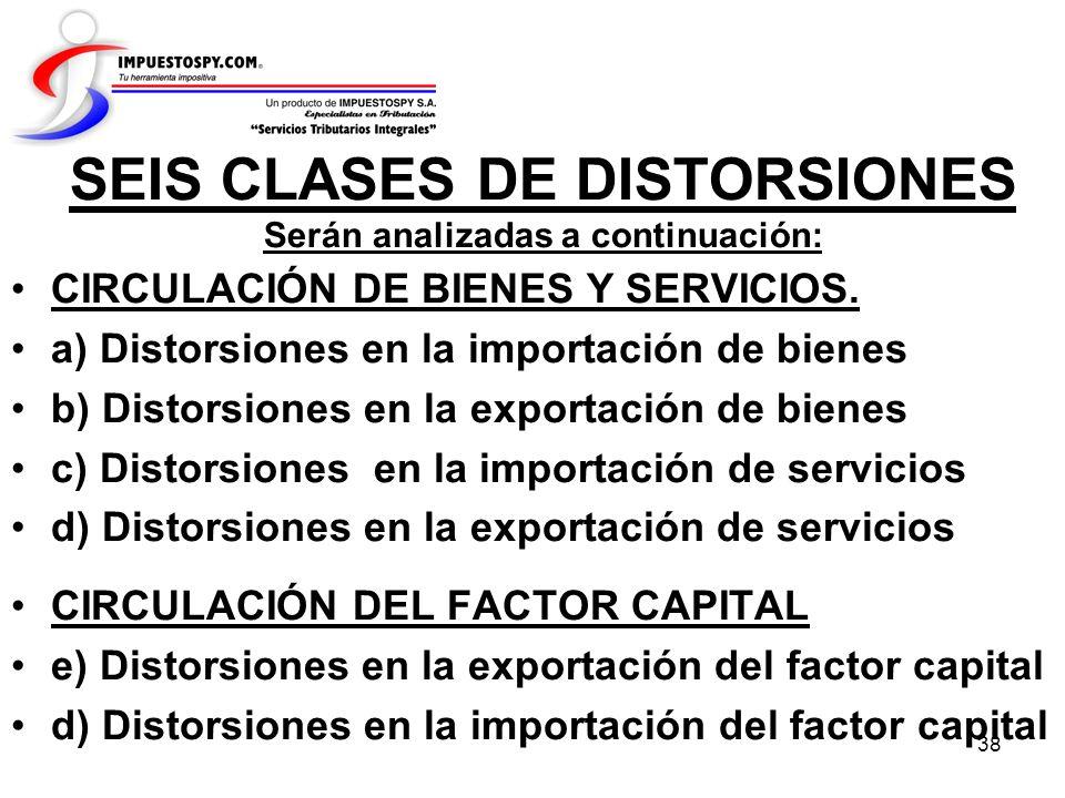 SEIS CLASES DE DISTORSIONES Serán analizadas a continuación: