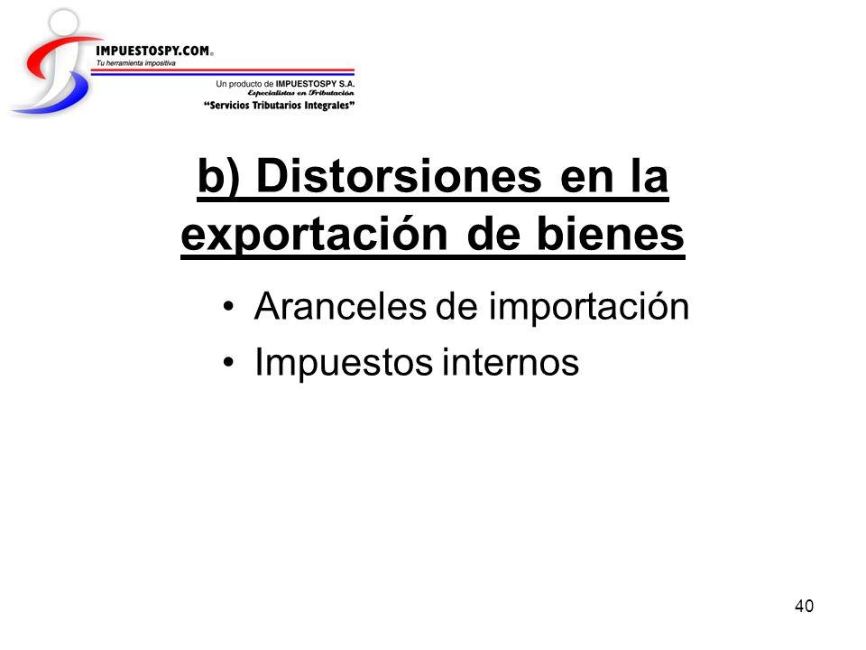 b) Distorsiones en la exportación de bienes