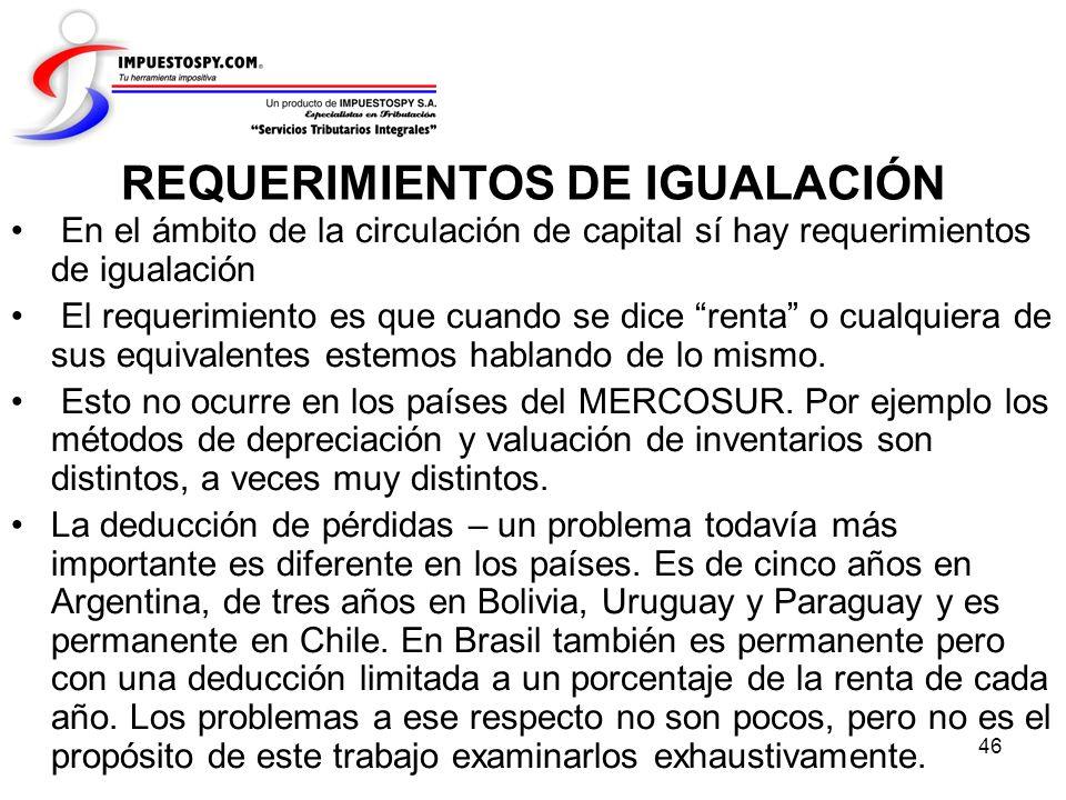 REQUERIMIENTOS DE IGUALACIÓN