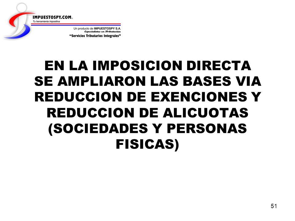 EN LA IMPOSICION DIRECTA SE AMPLIARON LAS BASES VIA REDUCCION DE EXENCIONES Y REDUCCION DE ALICUOTAS (SOCIEDADES Y PERSONAS FISICAS)