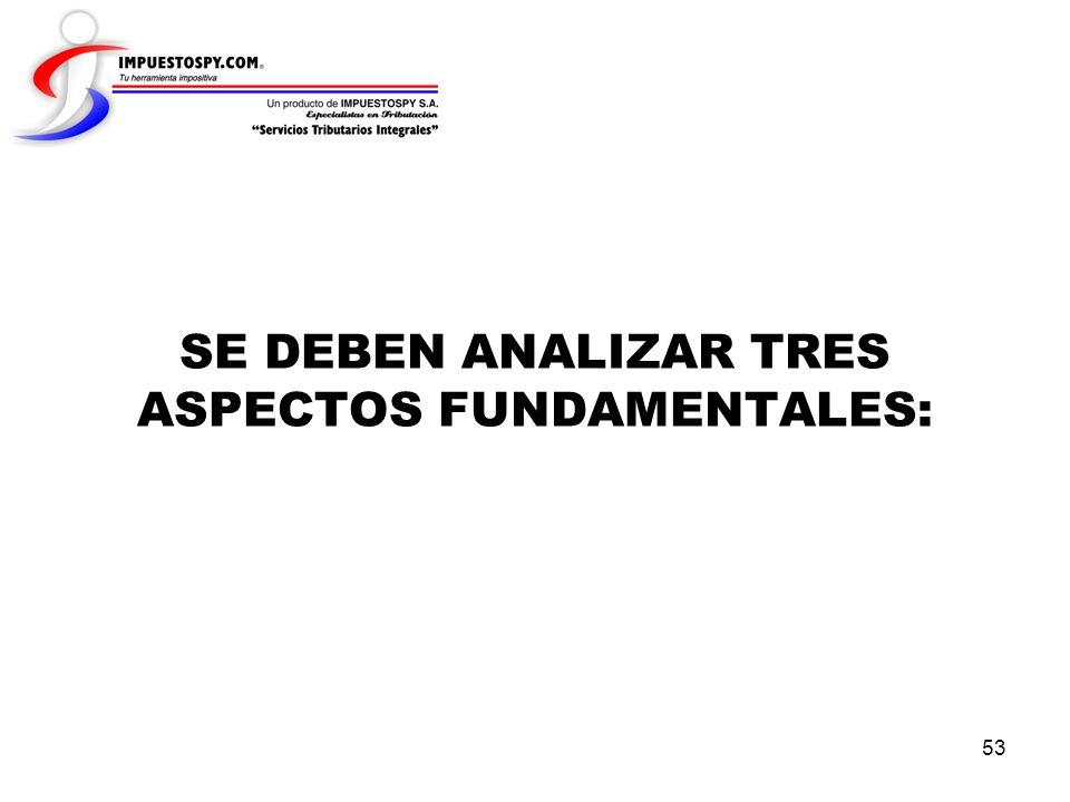 SE DEBEN ANALIZAR TRES ASPECTOS FUNDAMENTALES: