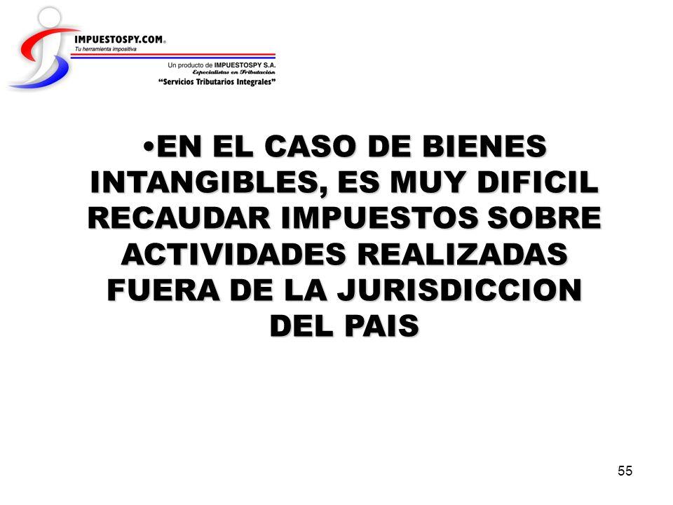 EN EL CASO DE BIENES INTANGIBLES, ES MUY DIFICIL RECAUDAR IMPUESTOS SOBRE ACTIVIDADES REALIZADAS FUERA DE LA JURISDICCION DEL PAIS