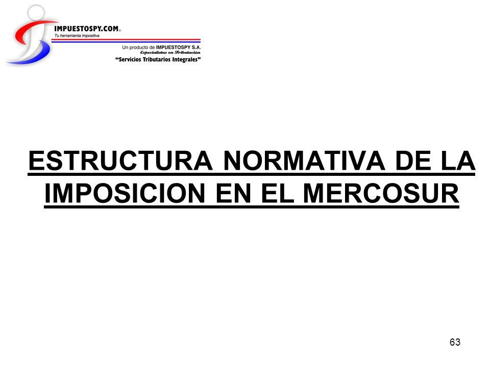 ESTRUCTURA NORMATIVA DE LA IMPOSICION EN EL MERCOSUR