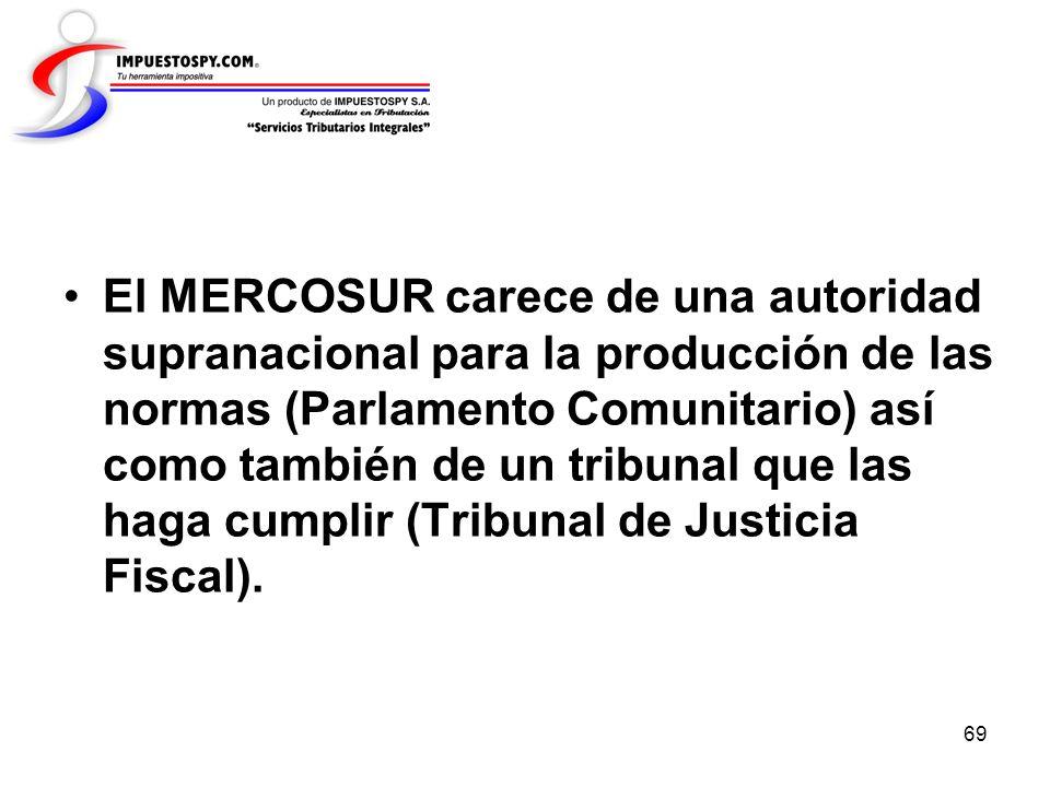 El MERCOSUR carece de una autoridad supranacional para la producción de las normas (Parlamento Comunitario) así como también de un tribunal que las haga cumplir (Tribunal de Justicia Fiscal).