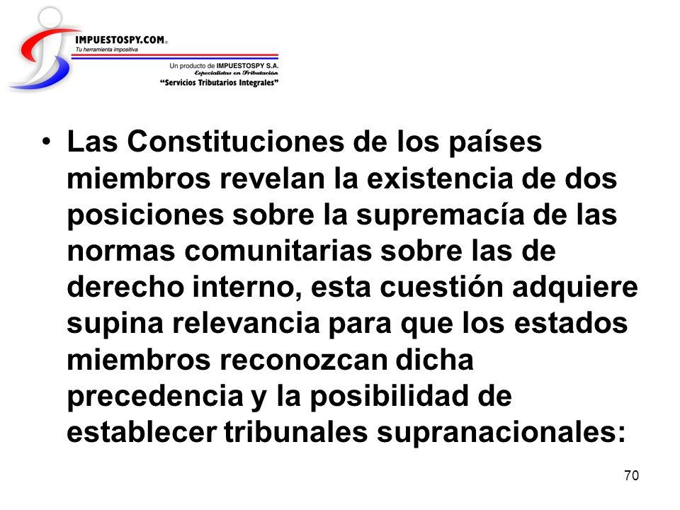 Las Constituciones de los países miembros revelan la existencia de dos posiciones sobre la supremacía de las normas comunitarias sobre las de derecho interno, esta cuestión adquiere supina relevancia para que los estados miembros reconozcan dicha precedencia y la posibilidad de establecer tribunales supranacionales: