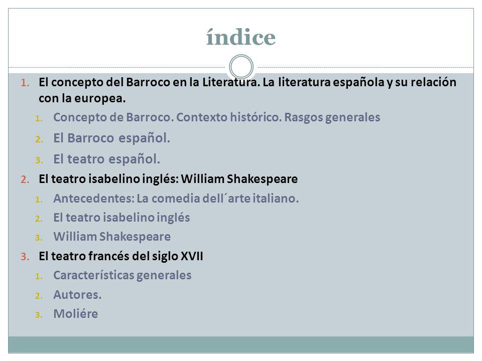 índice El Barroco español. El teatro español.