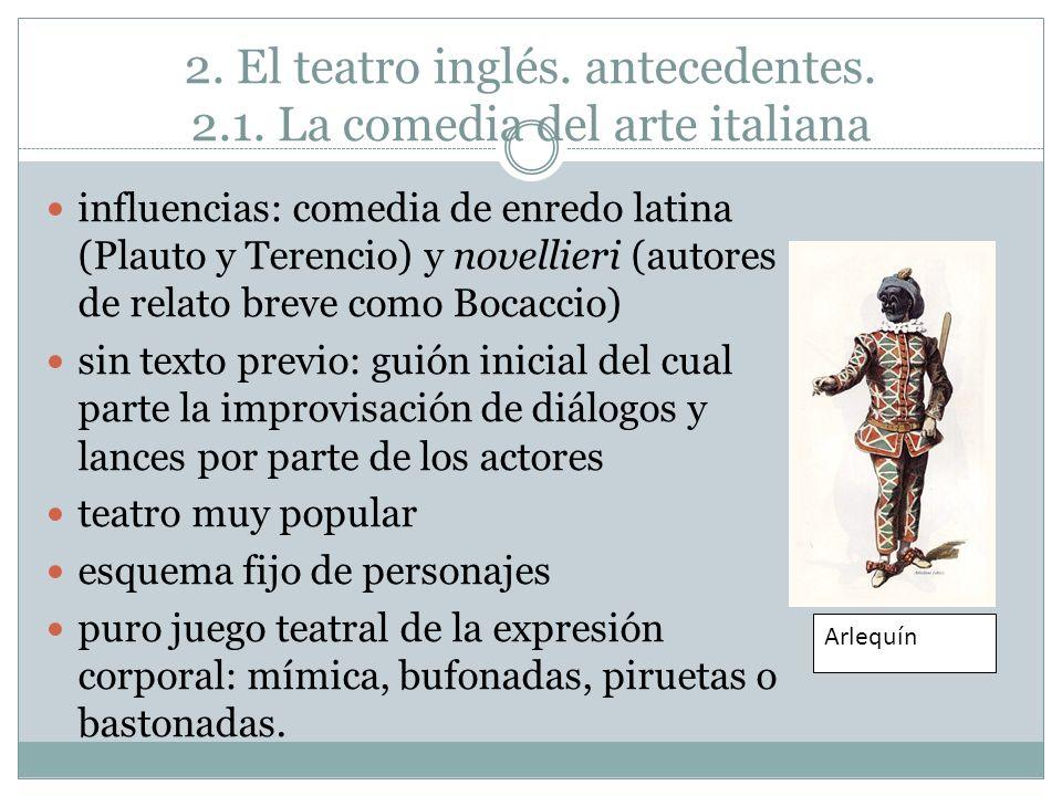 2. El teatro inglés. antecedentes. 2.1. La comedia del arte italiana