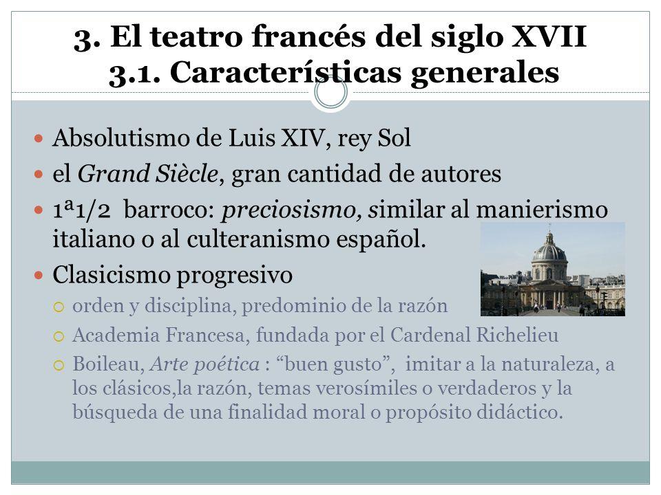 3. El teatro francés del siglo XVII 3.1. Características generales