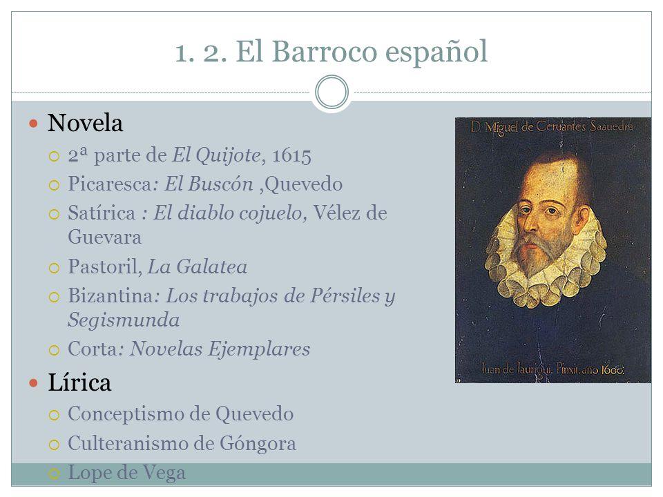 1. 2. El Barroco español Novela Lírica 2ª parte de El Quijote, 1615